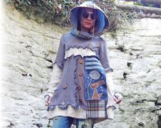 Hare Tunic Dress, Hooded Dress, Unique Sweater, Recycled Jumper, Upcycled Sweater, Cute Jumper, Whimsical Clothing, Applique Clothing, Small