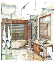 Kitchen Interior Design Sketch For 2019 Interior Design Renderings, Drawing Interior, Interior Rendering, Interior Sketch, Interior Architecture, Classical Architecture, Color Interior, Croquis Architecture, Rendering Techniques