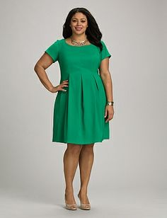 Plus Size Pleated Fit-and-Flare Pocket Dress