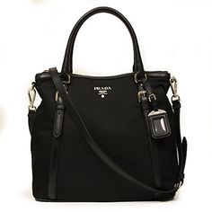 Prada BR5116 Nero Sacca 2 Manici Tessuto + Soft Calf Leather Black Nylon and Leather Tote Bag: Handbags: Amazon.com