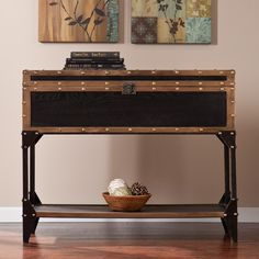 Harper Blvd Duncan Travel Trunk Console/ Sofa Table (OS3813), Black