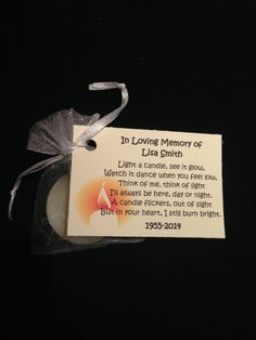 Light for a Life * Funeral Gift * Favour * Gift * Candle Funeral Memorial, Memorial Gifts, Memorial Ideas, Memorial Cards, Funeral Gifts, Funeral Poems, Funeral Wishes, In Memory Of Dad, In Loving Memory