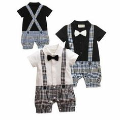 Baby Boy Wedding Tuxedo Suit Bowtie Check Romper Bodysuit Outfit Cloth BC01 | eBay