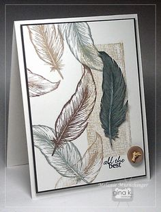 Hands, Head and Heart: Video: Crafting with Stamped Feathers - Stampers Favorites stamp set Stampin Up Karten, Karten Diy, Stampin Up Cards, Sympathy Cards, Greeting Cards, Men's Cards, Craft Cards, Kirigami, Stamp Tv