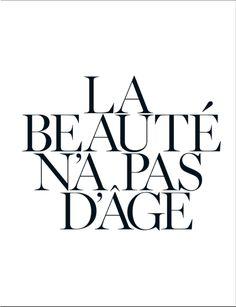 Vogue Paris November 2012: La Beaute N'a Pas D'Age (Beauty Has No Age) Featuring Lauren Hutton, typography