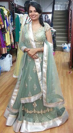 A custom made diamentes and zardosi work ghagra with long blouse...Design & creation by Ranjna Gupta