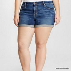 73036391436 AVA  amp  VIV NWT Midi SHORTS Womens PLUS 26W 26 4X Dark Faded Denim Rips