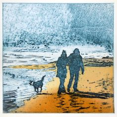 chine colle printmaking Suzie mackenzie - By the winter sea Collagraph with chine colle, varied edition of ten. Scratchboard Art, Beach Art, Dog Beach, Print Artist, Woodblock Print, Art Prints, Lino Prints, Block Prints, Collage Art