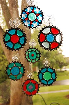 UpCYCLEd Bike Cog Single CUSTOMIZED Suncatcher (benefits adoption) on Etsy, $10.00 Bike Cog, Bicycle Wheel, Bicycle Art, Bike Craft, Bicycle Crafts, Cycling Art, Cogs, Old Bikes, Stained Glass Projects