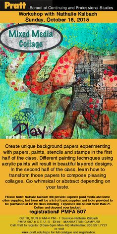 Mixed Media Collage Workshop at Pratt SCPS Sunday, October 18, 2015