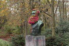 Flower Beards on historic busts by  georffrey mottart