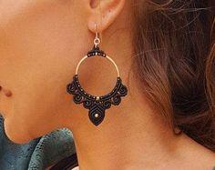 Macrame earrings Hoop earrings Boho jewelry Gypsy earrings