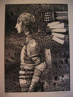 James Christensen - Messenger of the Heart (monochrome) Stone Lithograph