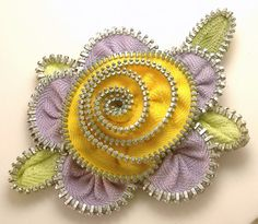 pintrest+zipper+flowers | Zipper Flower Pin Brooch Lavender & Yellow