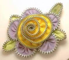 pintrest+zipper+flowers | Zipper Flower Pin Brooch Lavender & Yellow