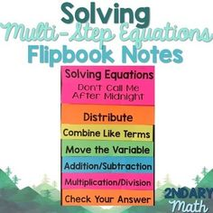 Solving Multi-Step Equations Flipbook (Don't Call Me After Midnight) Math Literacy, Guided Math, Teaching Math, Combining Like Terms, Two Step Equations, Math Notes, Solving Equations, Math Groups, 7th Grade Math