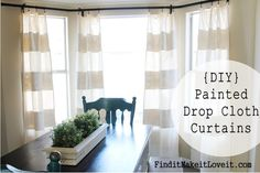 DIY Painted Drop Cloth Curtains February 4, 2015 By: Melanie10 CommentsDIY Painted Drop Cloth Curtains