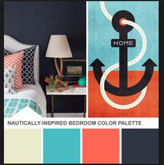 Turquoise, Navy, and Orange