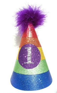 Rainbow Birthday Party Hat. $18.00, via Etsy.