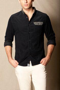 corduroy shirt w/ chambray trim