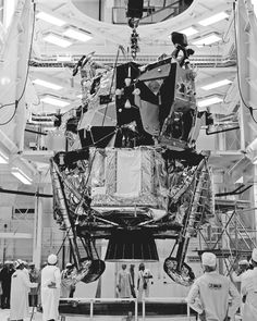 """"""" A lunar module is processed inside the Operations and Checkout Building at NASA's Kennedy Space Center in Florida. Apollo Space Program, Nasa Space Program, All About Space, Nasa Engineer, Lunar Lander, 2001 A Space Odyssey, Apollo Missions, Nasa History, Kennedy Space Center"""