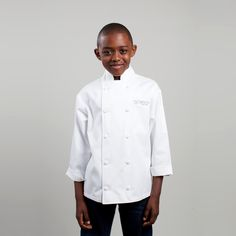 2400 Kid's Chef Jacket. For the aspiring junior chef in your life, this take on our classic Executive Chef Jacket offers the same high-quality workmanship, style and features in child sizes. Complete with a pen pocket on the left sleeve, stand collar and our signature, handcrafted, cloth-covered buttons. Your young chef will be comfortable and look great. No minimum order required. USD $34.00