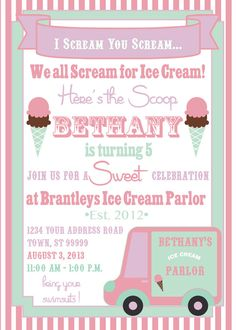 ICE CREAM PARTY invitation by SLDESIGNTEAM on Etsy, $18.00