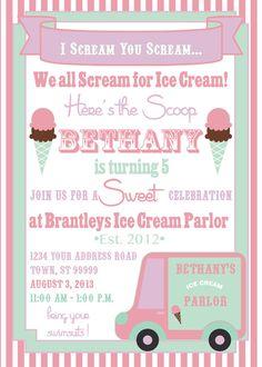ICE CREAM PARTY invitation by SLDESIGNTEAM on Etsy, $18.00