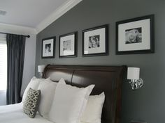 LEGENDARY GRAY - DUNN EDWARD. I like the grey accent wall with black picture frames.