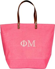 Store all your books and class supplies in this pink tote bag! It's chic, roomy and durable. Perfect for toting all your notes in style. Shop today! Jute Tote Bags, Pink Tote Bags, Beach Bag Essentials, Phi Mu, Berry, Blueberry