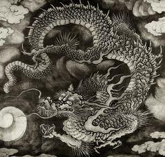 ideas tattoo dragon tiger japanese art for 2019 Dragon Tattoo Art, Dragon Artwork, Dragon Tattoo Designs, Japanese Dragon, Chinese Dragon, Chinese Art, Japanese Drawings, Japanese Prints, Japan Painting