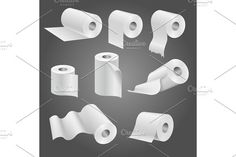Toilet paper roll, white soft kitchen towels vector set  @creativework247
