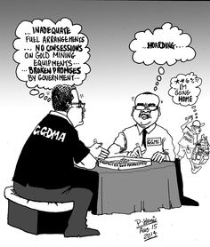 Business cartoon - Low gold production August 15, 2014