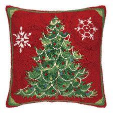 Christmas Snowflakes Hook Wool Throw Pillow