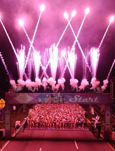 start of the disney princess half! who doesnt like pink fireworks at 5am?