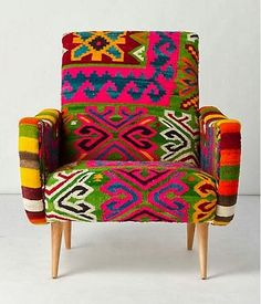 Fauteuil TABARKA en kilim vintage Rock the Kasbah. Kilim Fabric, Chair Fabric, Patchwork Chair, Puff, Bedroom Chair, Funky Furniture, My New Room, Living Room Chairs, Modern Chairs