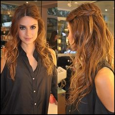 Loose curls with side braid,Half Up - Half Down hairstyle -Elegant -Bridal Hair -Braids - Curls -Classy
