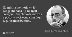Na minha memória - tão congestionada - e no meu coração - tão cheio de marcas e poços - você ocupa um dos lugares mais bonitos. — Caio Fernando Abreu