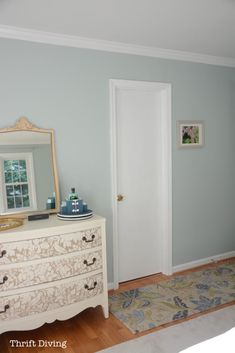 Sherwin Williams Sea Salt and Rainwashed - Rainwashed master bedroom makeover with painted dresser. Sherwin Williams Sea Salt, Rainwashed Sherwin Williams, Sherwin Williams Rain Washed, Watery Sherwin Williams, Best Bathroom Colors, Bathroom Paint Colors, Playroom Paint Colors, Bedroom Makeover Before And After, Master Bedroom Makeover