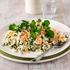 Watercress, Feta, lemon and salmon risotto recipe. Find this & more risotto recipes at Red Online.