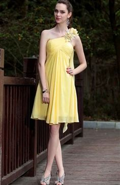 Yellow Flowers Shoulder Empire Cocktail Dress - Cocktail Dresses - OuterInner.com