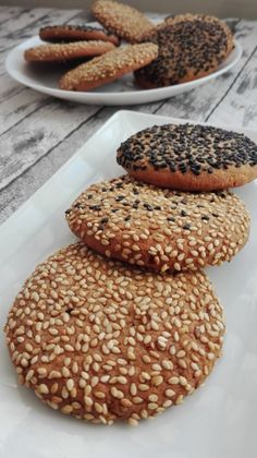 Healthy Cookies, Healthy Treats, Healthy Desserts, Delicious Desserts, Yummy Food, No Bake Desserts, Just Desserts, Dessert Recipes, Sesame Recipes