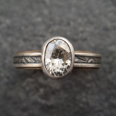 Oval Moissanite Engagement Ring by DownToTheWireDesigns on Etsy