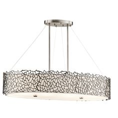 This one will provide lots of light, and on a dimmer will be nice for dinner. The call it a classic pewter finish. Silver Coral 4 Light Oval Chandelier / Pendant - CLP