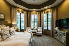Custom window coverings. Drapes and blinds. Rustic and elegant master bedroom suite. Fluff Interior Design - Decorating for REAL life!