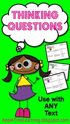 Thinking Questions to improve metacognition and comprehension.  Use with ANY text.  #comprehension #questions