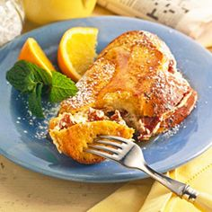 Stuffed French Toast --  Challah, a sweet egg bread, makes wonderful French toast, especially when it's filled with cinnamon-spiced cream cheese.