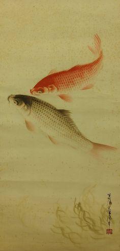 TOJIMA Kofu (1868~1912), Japan / a rare scroll painting using Japanese lacquer on silk 戸嶌光孚