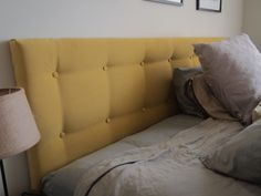 Hemnes Headboard-yellow velet!!- via  IKEA Hackers