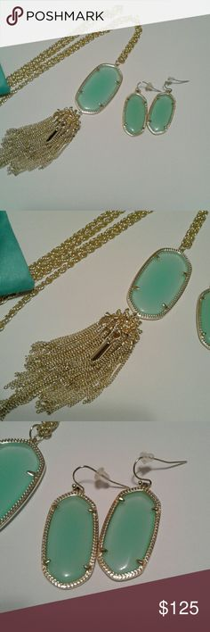 Rayne & Elle set Authentic Rayne and Elle set in Chalcedony. EUC. Rarely used. No tarnish. Dust bag/care card included. Kendra Scott Jewelry Necklaces